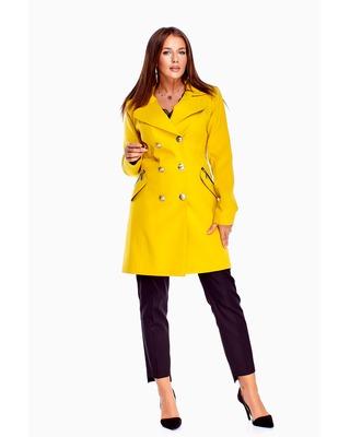 dwurzędowy płaszcz żółty