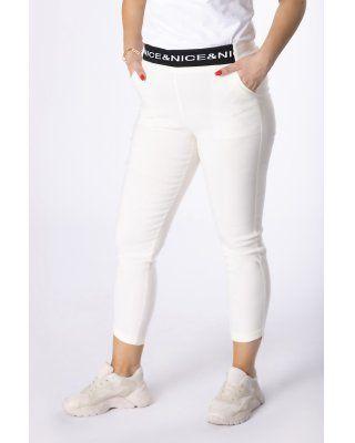 spodnie ze ściągaczem kremowy