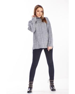sweter ze stójką szary