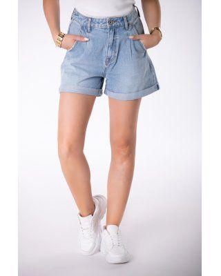 jeansowe szorty z szerokimi...