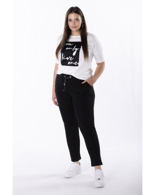 dresowe spodnie z wysokim...
