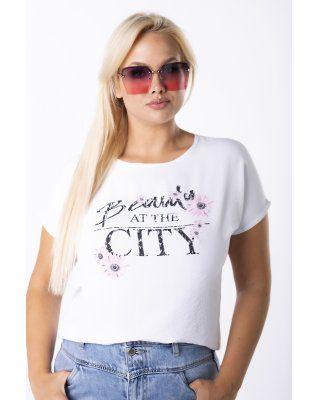 t-shirt z printem biały