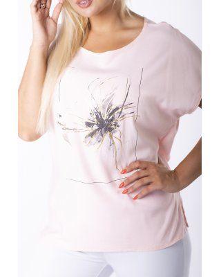 bluzka z printem różowy