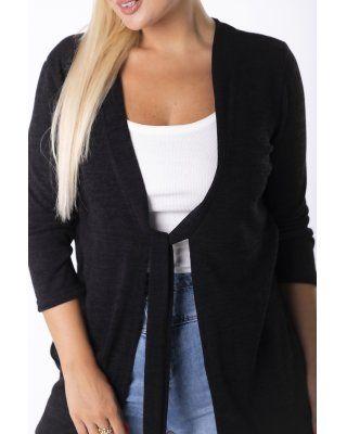 sweter z wiązaniem czarny