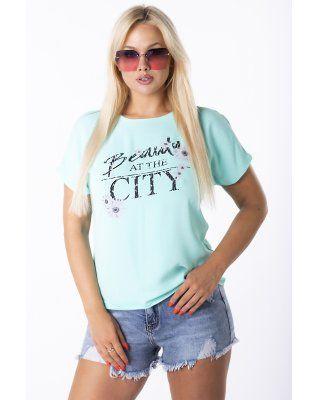 t-shirt z printem zielony