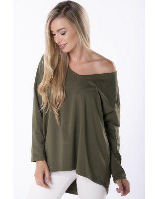 bluzka z dekoltem V zielony