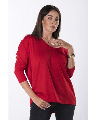 bluzka z dekoltem V czerwony