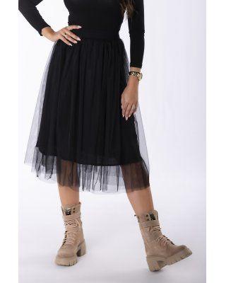 szyfonowa spódnica midi czarny