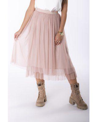 szyfonowa spódnica midi różowy