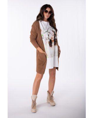 długi sweter alpaka brązowy