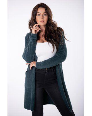 długi sweter alpaka zielony