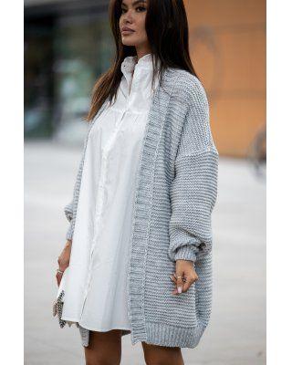 casualowy sweter szary