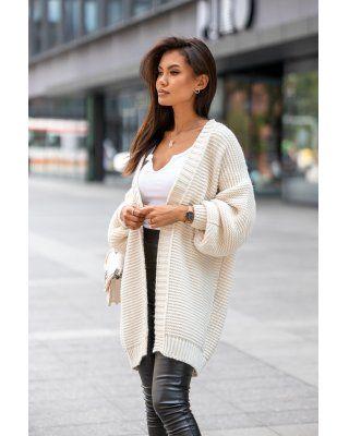 casualowy sweter kremowy