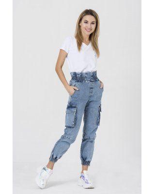 jeansowe spodnie z wysokim...