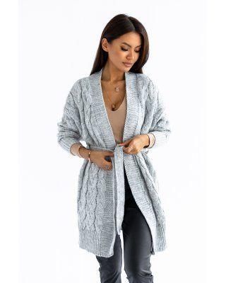 sweter w warkocze szary