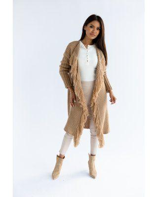 sweter z frędzlami brązowy