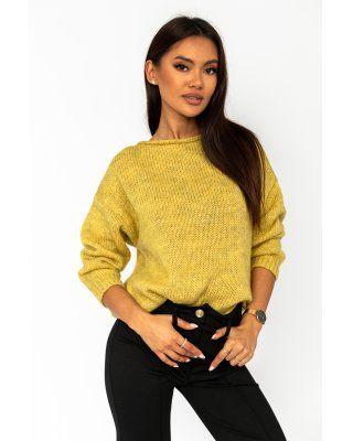 oversize'owy sweter żółty