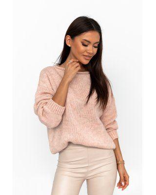 oversize'owy sweter różowy