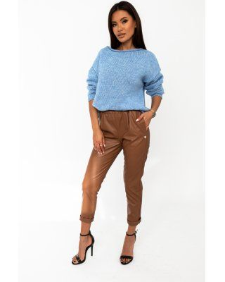 oversize'owy sweter niebieski