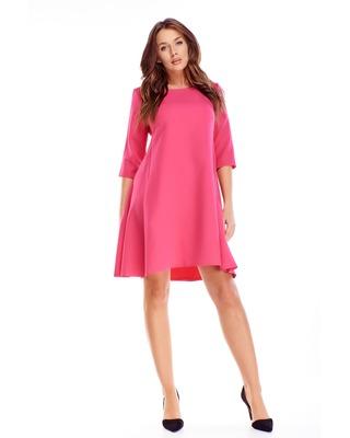 Różowa luzna sukienka z...